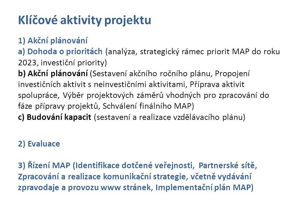Klíčové aktivity projektu 1) Akční plánování a) Dohoda o prioritách (analýza, strategický rámec priorit MAP do roku 2023, investiční priority) b) Akční plánování (Sestavení akčního ročního plánu, Propojení investičních aktivit s neinvestičními aktivitami, Příprava aktivit spolupráce, Výběr projektových záměrů vhodných pro zpracování do fáze přípravy projektů, Schválení finálního MAP) c) Budování kapacit (sestavení a realizace vzdělávacího plánu) 2) Evaluace 3) Řízení MAP (Identifikace dotčené veřejnosti, Partnerské sítě, Zpracování a realizace komunikační strategie, včetně vydávání zpravodaje a provozu www stránek, Implementační plán MAP)