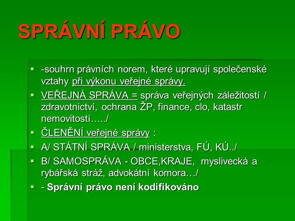 Rozhodni, do kterého odvětví práva patří:   1.Volby do Senátu ČR   2.