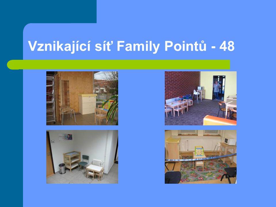 """Family Point Josefská květen 2009–únor 2011 Průměrná návštěvnost 850 rodičů a 410 dětí za měsíc 25 - 45 klientů měsíčně obsloužených v poradně (osobní, telefonický nebo elektronický kontakt) 2 akce pro veřejnost/měsíc 1520 odběratelů newsletteru """"Zprávy z Family Pointu cca 4000 návštěv internetových stránek za měsíc"""