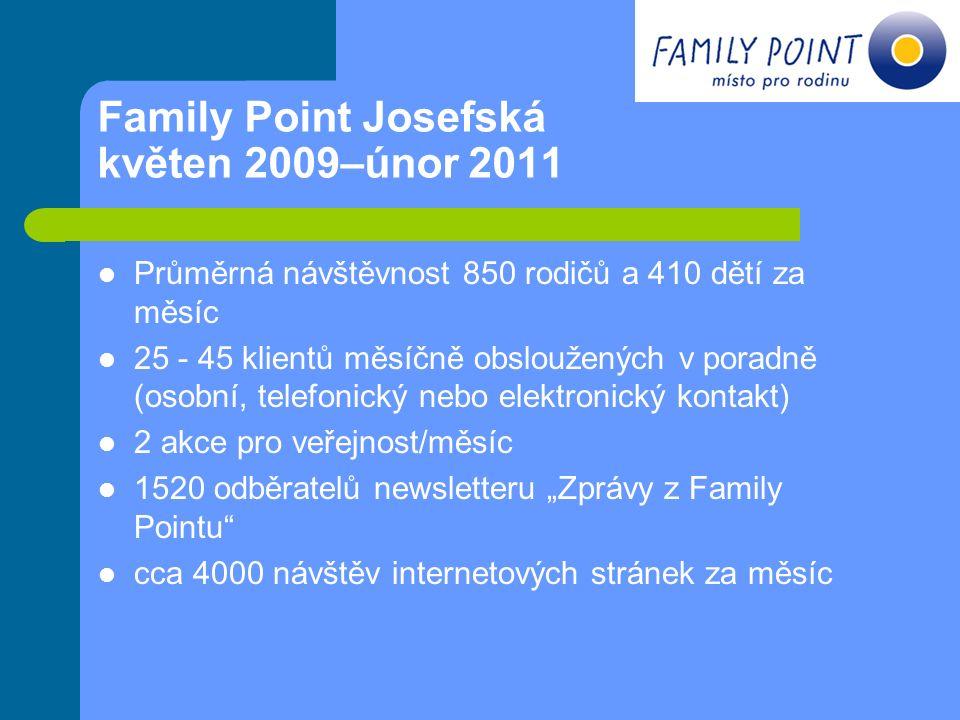 Family Point Josefská květen 2009–únor 2011 Průměrná návštěvnost 850 rodičů a 410 dětí za měsíc 25 - 45 klientů měsíčně obsloužených v poradně (osobní