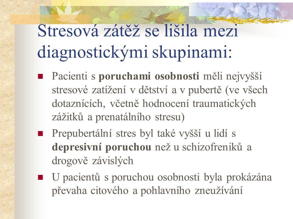 Stresová zátěž se lišila mezi diagnostickými skupinami: Pacienti s poruchami osobnosti měli nejvyšší stresové zatížení v dětství a v pubertě (ve všech dotaznících, včetně hodnocení traumatických zážitků a prenatálního stresu) Prepubertální stres byl také vyšší u lidí s depresivní poruchou než u schizofreniků a drogově závislých U pacientů s poruchou osobnosti byla prokázána převaha citového a pohlavního zneužívání