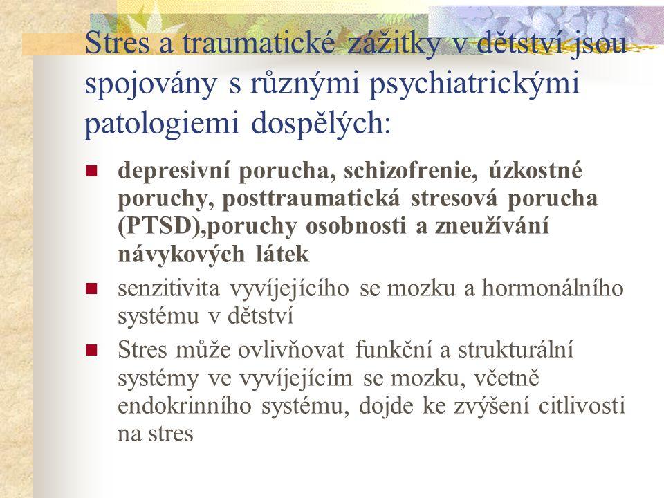 Stres a traumatické zážitky v dětství jsou spojovány s různými psychiatrickými patologiemi dospělých: depresivní porucha, schizofrenie, úzkostné poruchy, posttraumatická stresová porucha (PTSD),poruchy osobnosti a zneužívání návykových látek senzitivita vyvíjejícího se mozku a hormonálního systému v dětství Stres může ovlivňovat funkční a strukturální systémy ve vyvíjejícím se mozku, včetně endokrinního systému, dojde ke zvýšení citlivosti na stres