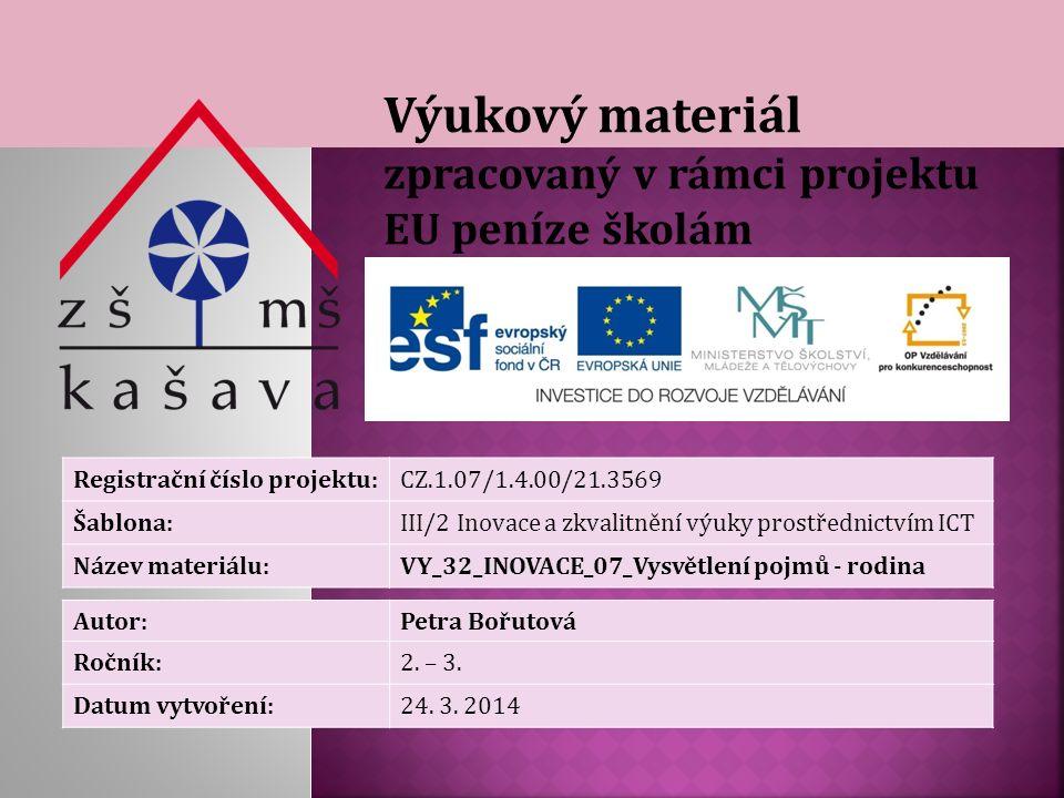 Výukový materiál zpracovaný v rámci projektu EU peníze školám Registrační číslo projektu:CZ.1.07/1.4.00/21.3569 Šablona:III/2 Inovace a zkvalitnění výuky prostřednictvím ICT Název materiálu:VY_32_INOVACE_07_Vysvětlení pojmů - rodina Autor:Petra Bořutová Ročník:2.