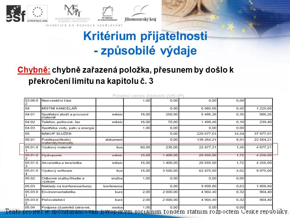 9 Kritérium přijatelnosti - způsobilé výdaje Chybně: chybně zařazená položka, přesunem by došlo k překročení limitu na kapitolu č.