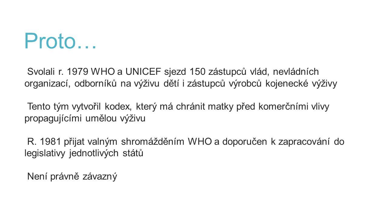 Proto… Svolali r. 1979 WHO a UNICEF sjezd 150 zástupců vlád, nevládních organizací, odborníků na výživu dětí i zástupců výrobců kojenecké výživy Tento