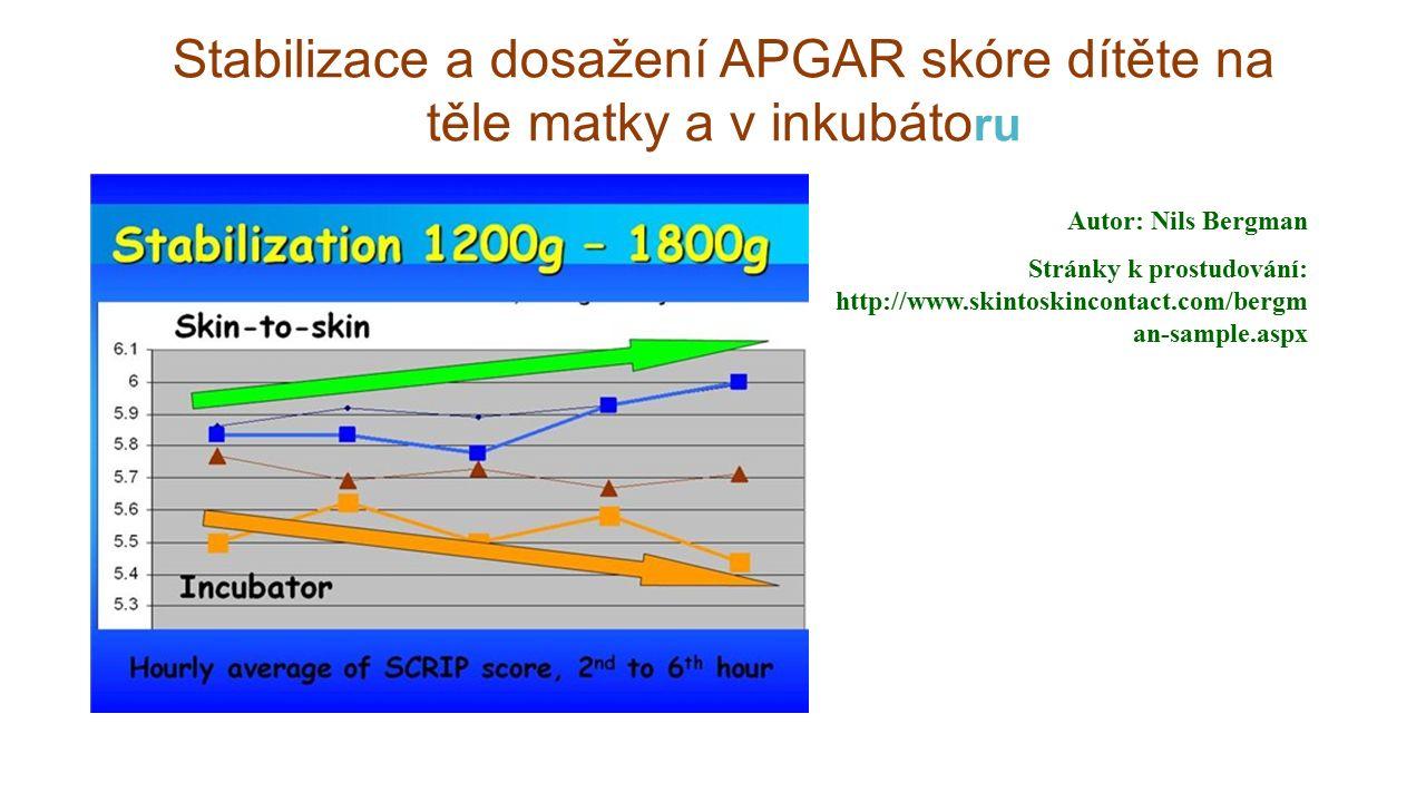 Stabilizace a dosažení APGAR skóre dítěte na těle matky a v inkubáto ru Autor: Nils Bergman Stránky k prostudování: http://www.skintoskincontact.com/b