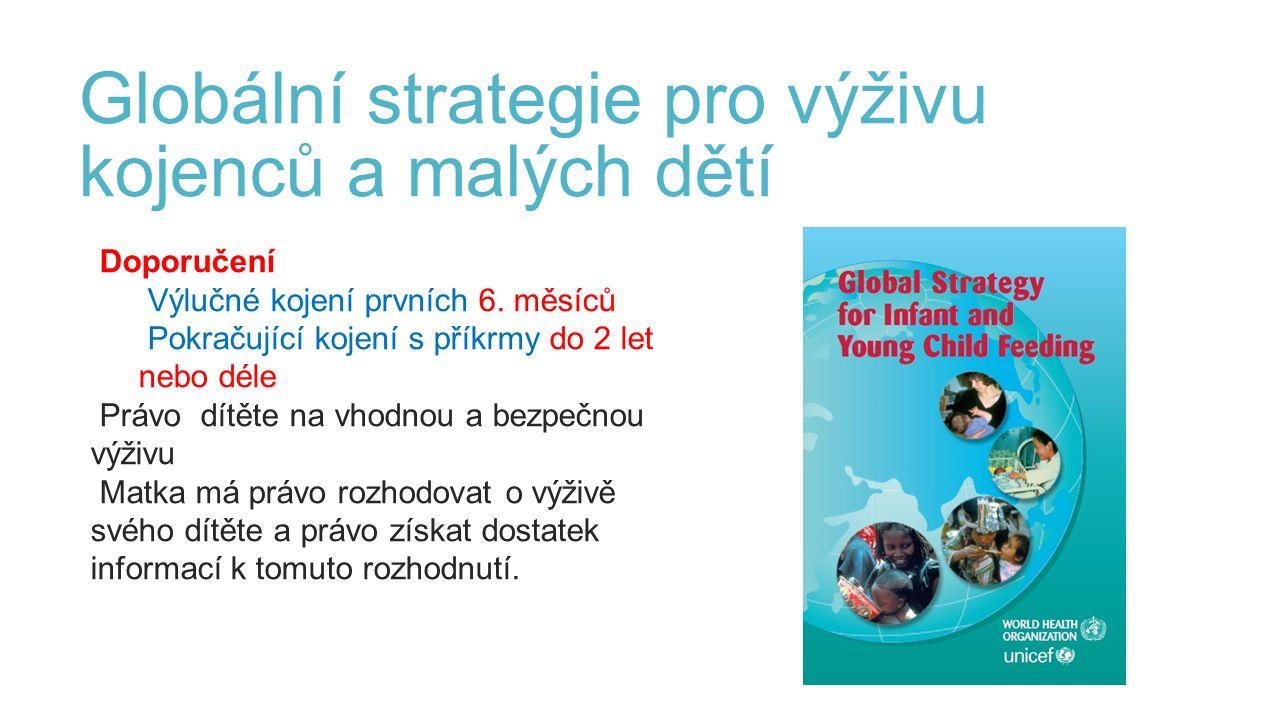 Globální strategie pro výživu kojenců a malých dětí Doporučení Výlučné kojení prvních 6.