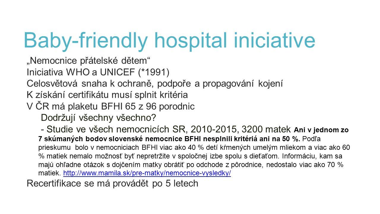 """Baby-friendly hospital iniciative """"Nemocnice přátelské dětem Iniciativa WHO a UNICEF (*1991) Celosvětová snaha k ochraně, podpoře a propagování kojení K získání certifikátu musí splnit kritéria V ČR má plaketu BFHI 65 z 96 porodnic Dodržují všechny všechno."""