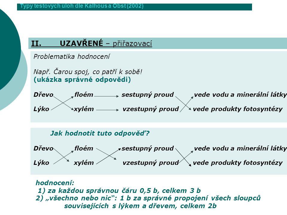 Typy testových úloh dle Kalhous a Obst (2002) II.UZAVŘENÉ – přiřazovací Jak hodnotit tuto odpověď? Dřevo floém sestupný proud vede vodu a minerální lá