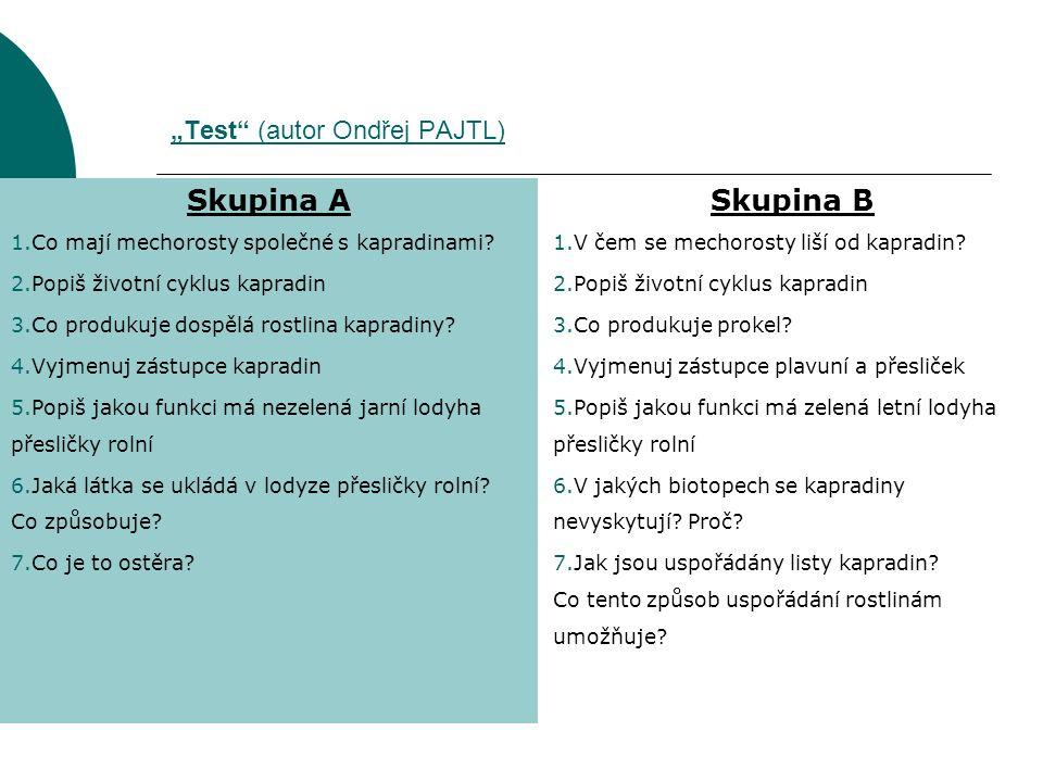"""""""Test"""" (autor Ondřej PAJTL) Skupina A 1.Co mají mechorosty společné s kapradinami? 2.Popiš životní cyklus kapradin 3.Co produkuje dospělá rostlina kap"""