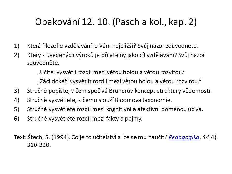 Opakování 12. 10. (Pasch a kol., kap. 2) 1)Která filozofie vzdělávání je Vám nejbližší.