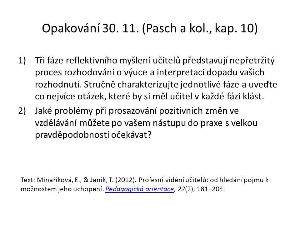 Opakování 30. 11. (Pasch a kol., kap.
