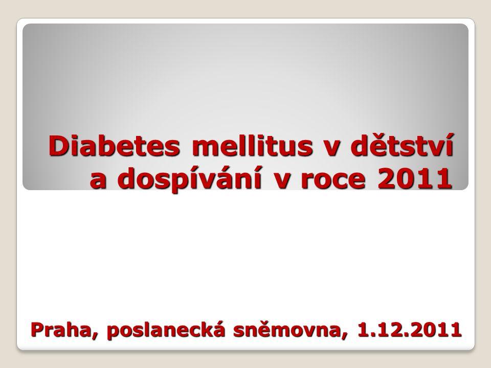 Diabetes mellitus v dětství a dospívání V >95 % případů diabetes mellitus 1.