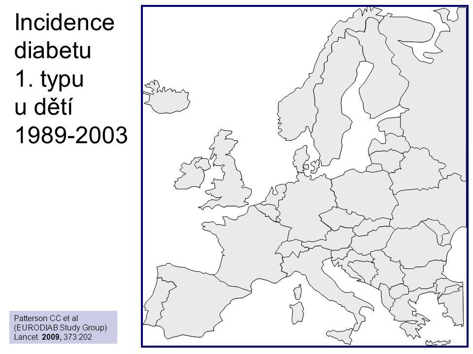 Incidence diabetu 1. typu u dětí 1989-2003 Patterson CC et al (EURODIAB Study Group) Lancet. 2009, 373:202