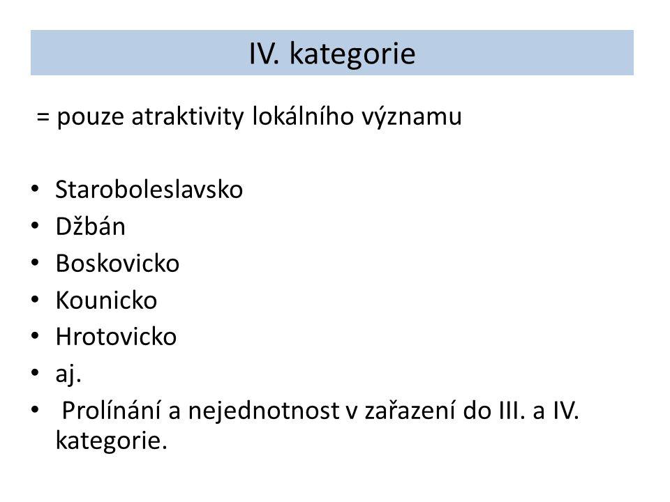 IV. kategorie = pouze atraktivity lokálního významu Staroboleslavsko Džbán Boskovicko Kounicko Hrotovicko aj. Prolínání a nejednotnost v zařazení do I