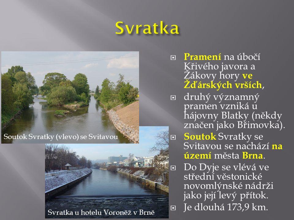  Pramení na úbočí Křivého javora a Žákovy hory ve Žďárských vrších,  druhý významný pramen vzniká u hájovny Blatky (někdy značen jako Břimovka).  S