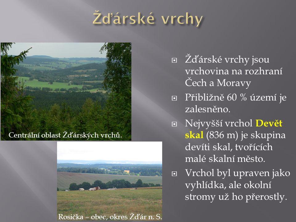  Žďárské vrchy jsou vrchovina na rozhraní Čech a Moravy  Přibližně 60 % území je zalesněno.  Nejvyšší vrchol Devět skal (836 m) je skupina devíti s