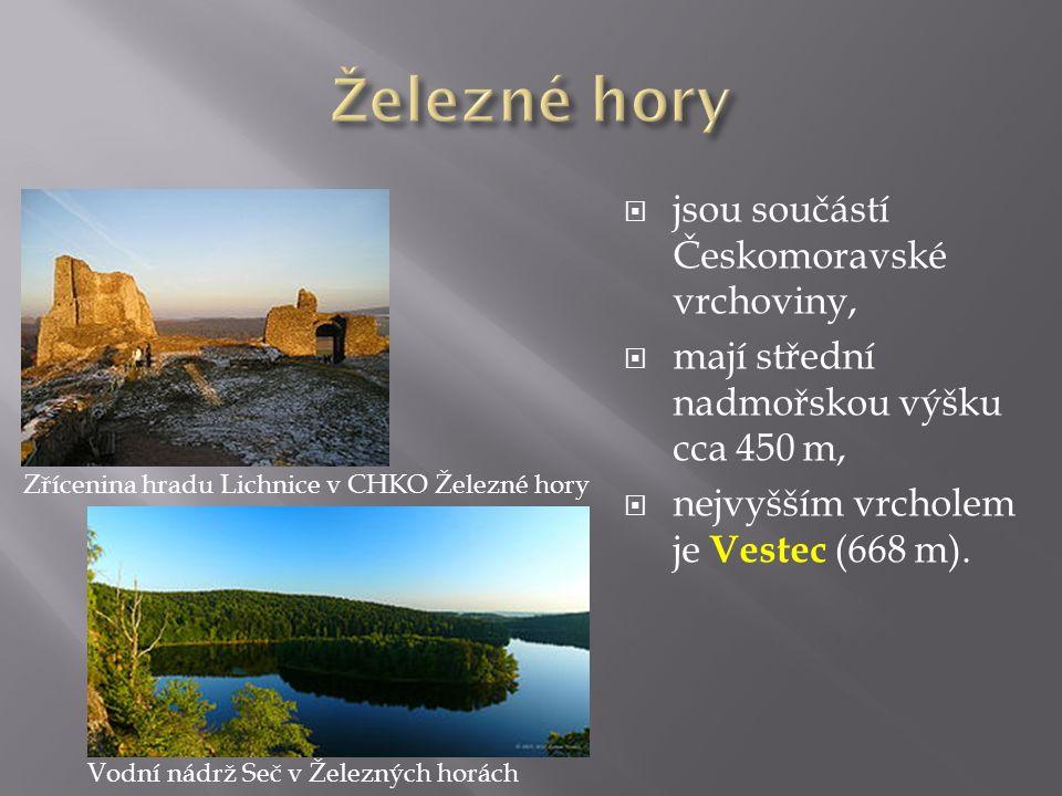  jsou součástí Českomoravské vrchoviny,  mají střední nadmořskou výšku cca 450 m,  nejvyšším vrcholem je Vestec (668 m). Vodní nádrž Seč v Železnýc