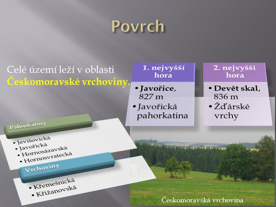 Celé území leží v oblasti Českomoravské vrchoviny. Českomoravská vrchovina