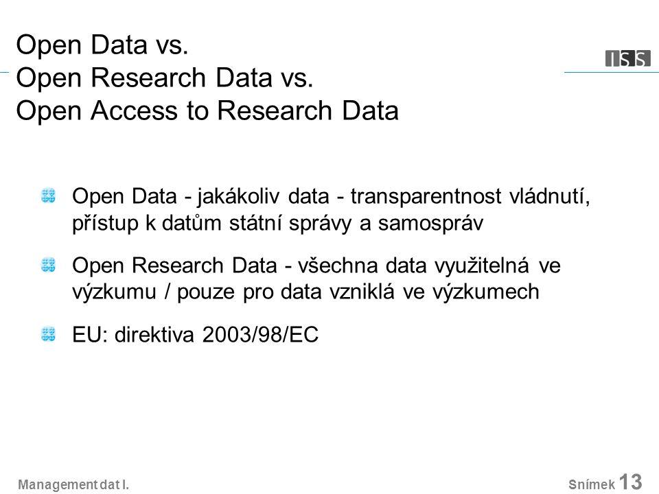 Open Data vs. Open Research Data vs. Open Access to Research Data Open Data - jakákoliv data - transparentnost vládnutí, přístup k datům státní správy