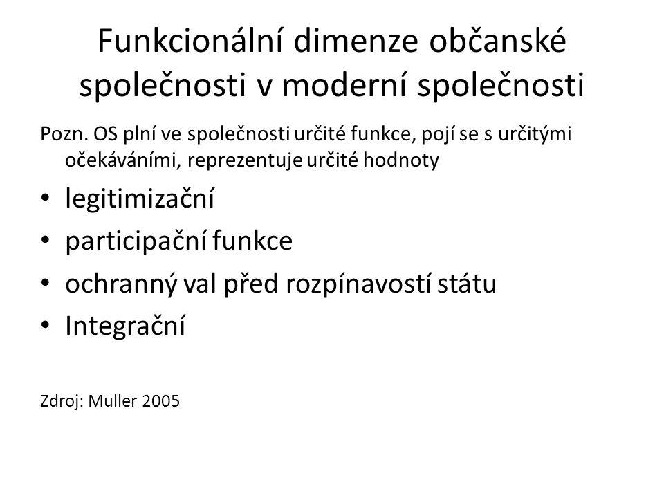 Funkce NNO Poskytování servisu Inovativní funkce Ochrana hodnot, sociálních skupin Advokační role Budování komunity Zdroj: Kramer 1981 in Anheier 2005