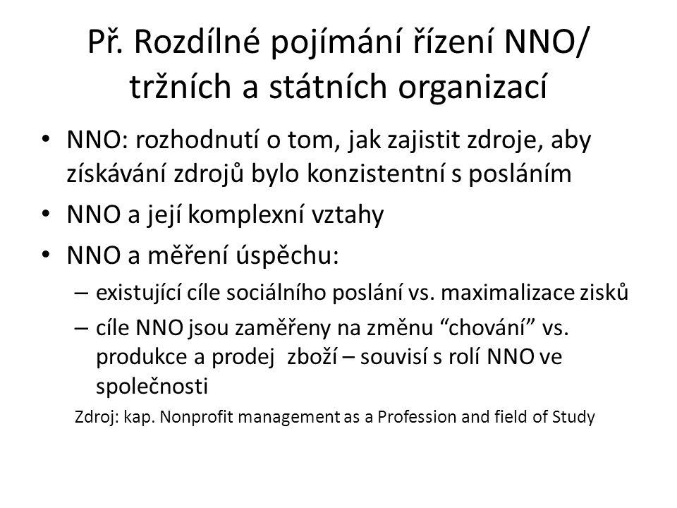 Př. Rozdílné pojímání řízení NNO/ tržních a státních organizací NNO: rozhodnutí o tom, jak zajistit zdroje, aby získávání zdrojů bylo konzistentní s p