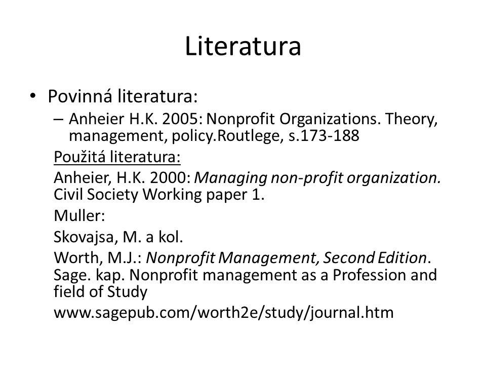 Literatura Povinná literatura: – Anheier H.K. 2005: Nonprofit Organizations.