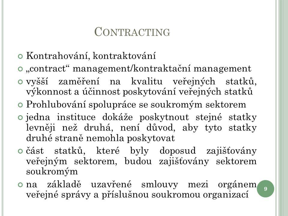 """C ONTRACTING Kontrahování, kontraktování """"contract management/kontraktační management vyšší zaměření na kvalitu veřejných statků, výkonnost a účinnost poskytování veřejných statků Prohlubování spolupráce se soukromým sektorem jedna instituce dokáže poskytnout stejné statky levněji než druhá, není důvod, aby tyto statky druhé straně nemohla poskytovat část statků, které byly doposud zajišťovány veřejným sektorem, budou zajišťovány sektorem soukromým na základě uzavřené smlouvy mezi orgánem veřejné správy a příslušnou soukromou organizací 9"""