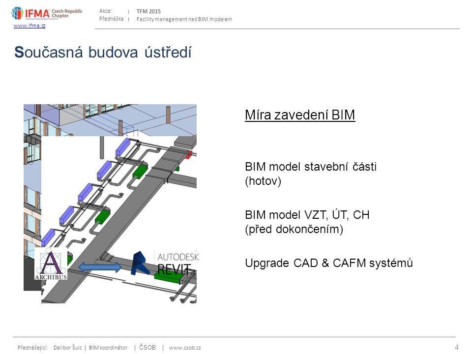 Přednáška Akce: Přednášející: Dalibor Šulc | BIM koordinátor | ČSOB | www.csob.cz TFM 2015 www.ifma.cz Facility management nad BIM modelem Míra zavedení BIM BIM model stavební části (hotov) BIM model VZT, ÚT, CH (před dokončením) Upgrade CAD & CAFM systémů Současná budova ústředí 5 Řešíme Nejednotné podklady pro tvorbu BIM modelu - stavební vs.