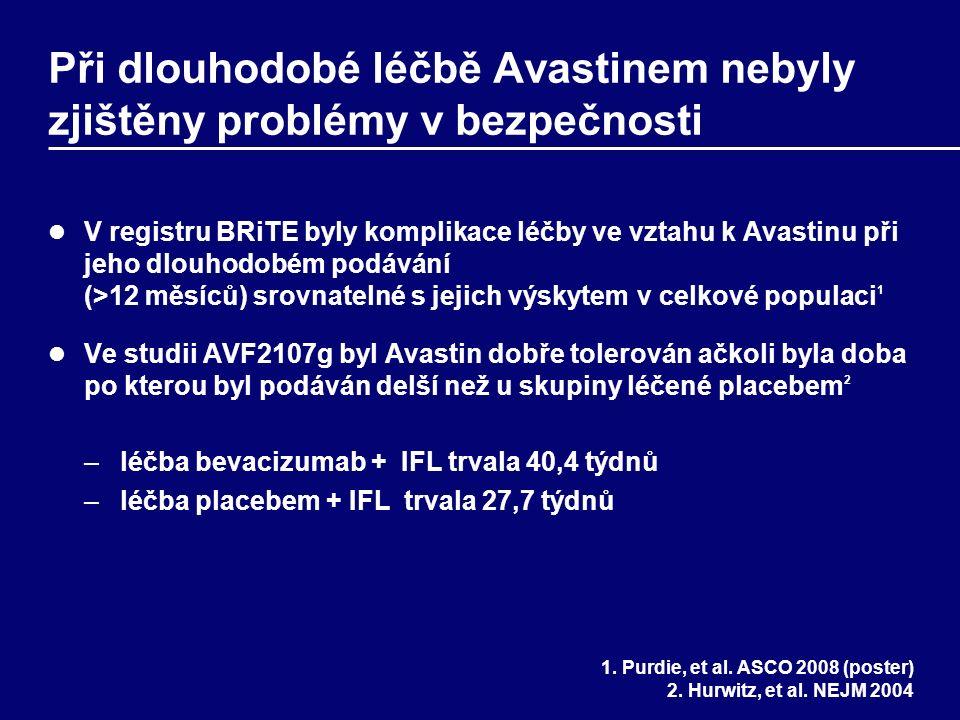 Při dlouhodobé léčbě Avastinem nebyly zjištěny problémy v bezpečnosti V registru BRiTE byly komplikace léčby ve vztahu k Avastinu při jeho dlouhodobém podávání (>12 měsíců) srovnatelné s jejich výskytem v celkové populaci 1 Ve studii AVF2107g byl Avastin dobře tolerován ačkoli byla doba po kterou byl podáván delší než u skupiny léčené placebem 2 –léčba bevacizumab + IFL trvala 40,4 týdnů –léčba placebem + IFL trvala 27,7 týdnů 1.