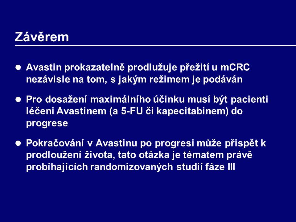 Závěrem Avastin prokazatelně prodlužuje přežití u mCRC nezávisle na tom, s jakým režimem je podáván Pro dosažení maximálního účinku musí být pacienti léčeni Avastinem (a 5-FU či kapecitabinem) do progrese Pokračování v Avastinu po progresi může přispět k prodloužení života, tato otázka je tématem právě probíhajících randomizovaných studií fáze III