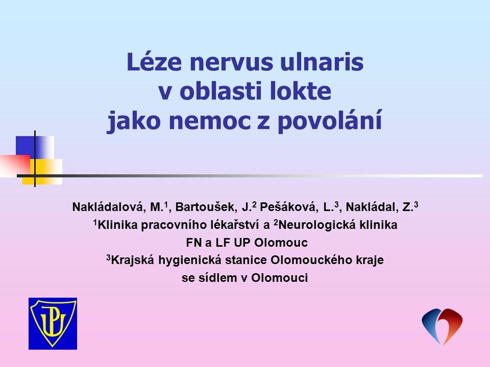 Léze nervus ulnaris v oblasti lokte jako nemoc z povolání Nakládalová, M. 1, Bartoušek, J. 2 Pešáková, L. 3, Nakládal, Z. 3 1 Klinika pracovního lékař