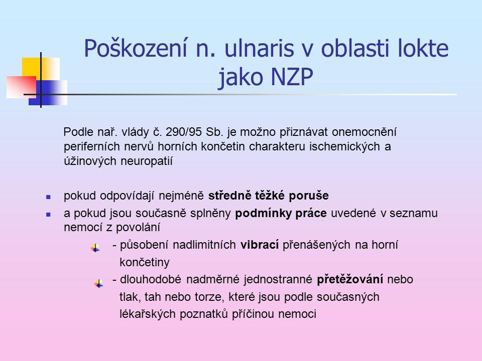 Poškození n. ulnaris v oblasti lokte jako NZP Podle nař. vlády č. 290/95 Sb. je možno přiznávat onemocnění periferních nervů horních končetin charakte
