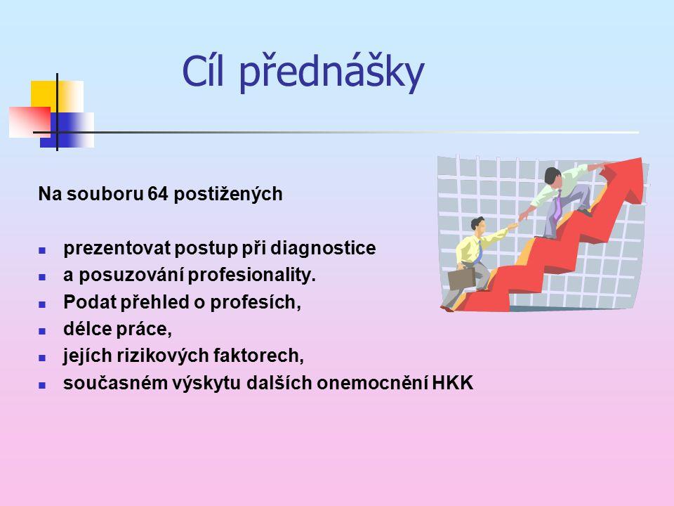 Cíl přednášky Na souboru 64 postižených prezentovat postup při diagnostice a posuzování profesionality. Podat přehled o profesích, délce práce, jejích