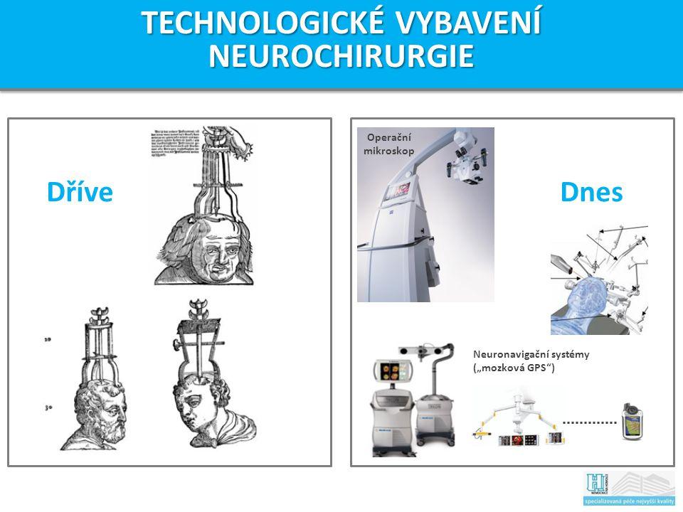 """Dříve Operační mikroskop Neuronavigační systémy (""""mozková GPS ) TECHNOLOGICKÉ VYBAVENÍ NEUROCHIRURGIE Dnes"""