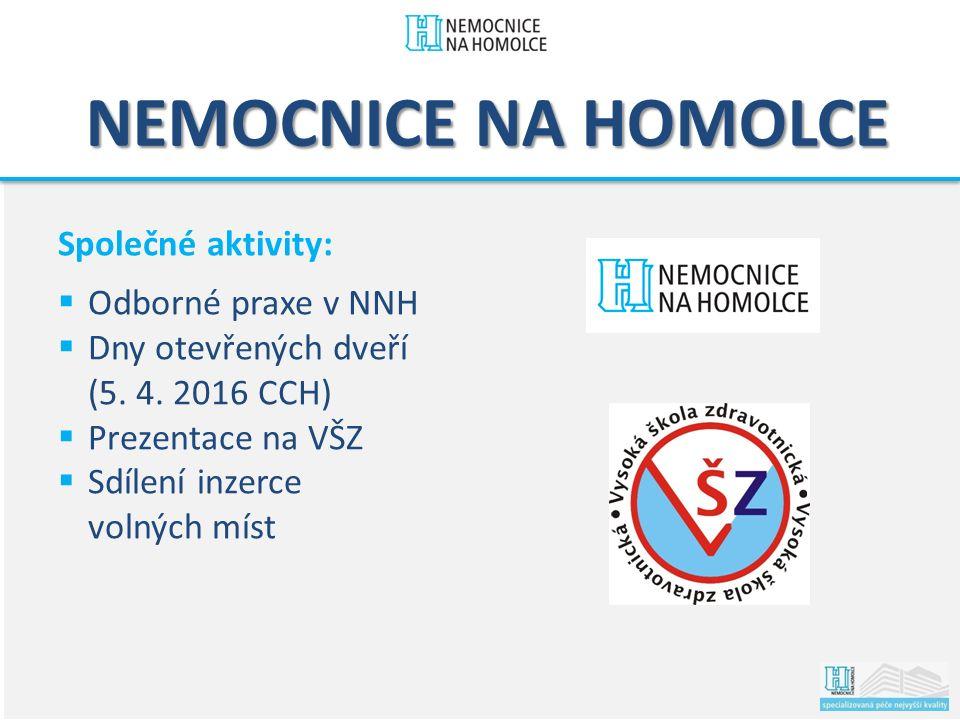NEMOCNICE NA HOMOLCE Společné aktivity:  Odborné praxe v NNH  Dny otevřených dveří (5.
