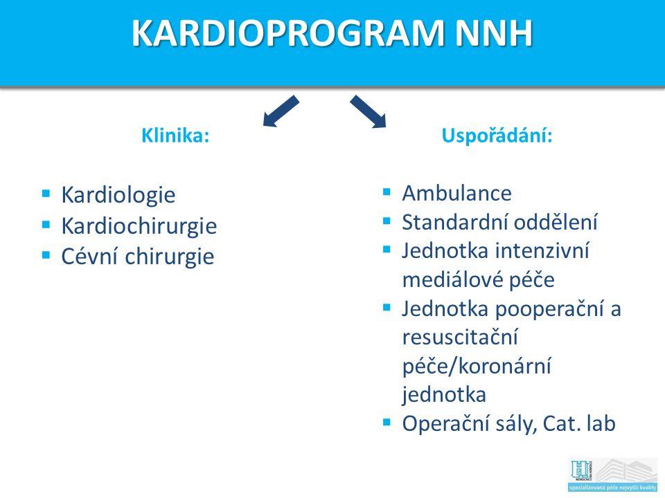 Klinika:Uspořádání:  Kardiologie  Kardiochirurgie  Cévní chirurgie  Ambulance  Standardní oddělení  Jednotka intenzivní mediálové péče  Jednotka pooperační a resuscitační péče/koronární jednotka  Operační sály, Cat.