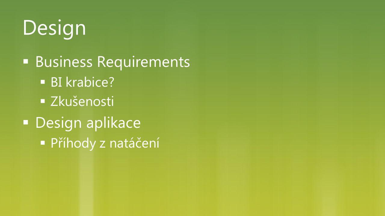 Design  Business Requirements  BI krabice?  Zkušenosti  Design aplikace  Příhody z natáčení