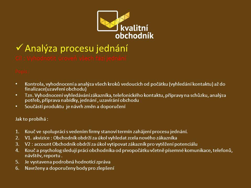 Analýza procesu jednání Cíl : Vyhodnotit úroveň všech fází jednání Popis : Kontrola, vyhodnocení a analýza všech kroků vedoucích od počátku (vyhledání kontaktu) až do finalizace(uzavření obchodu) Tzn.