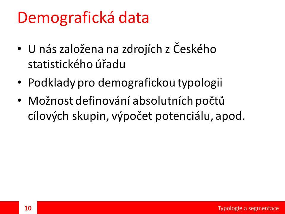 Demografická data U nás založena na zdrojích z Českého statistického úřadu Podklady pro demografickou typologii Možnost definování absolutních počtů cílových skupin, výpočet potenciálu, apod.