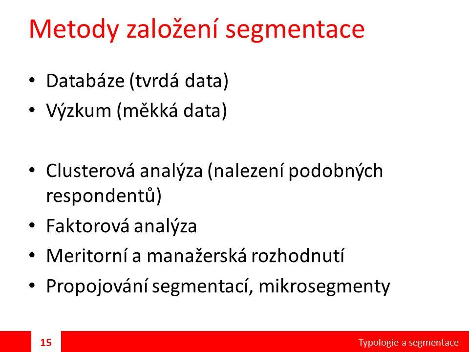 Metody založení segmentace Databáze (tvrdá data) Výzkum (měkká data) Clusterová analýza (nalezení podobných respondentů) Faktorová analýza Meritorní a manažerská rozhodnutí Propojování segmentací, mikrosegmenty Typologie a segmentace 15