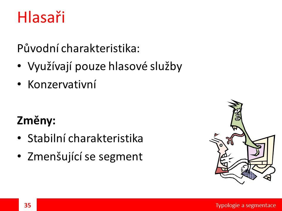 Hlasaři Původní charakteristika: Využívají pouze hlasové služby Konzervativní Změny: Stabilní charakteristika Zmenšující se segment Typologie a segmentace 35