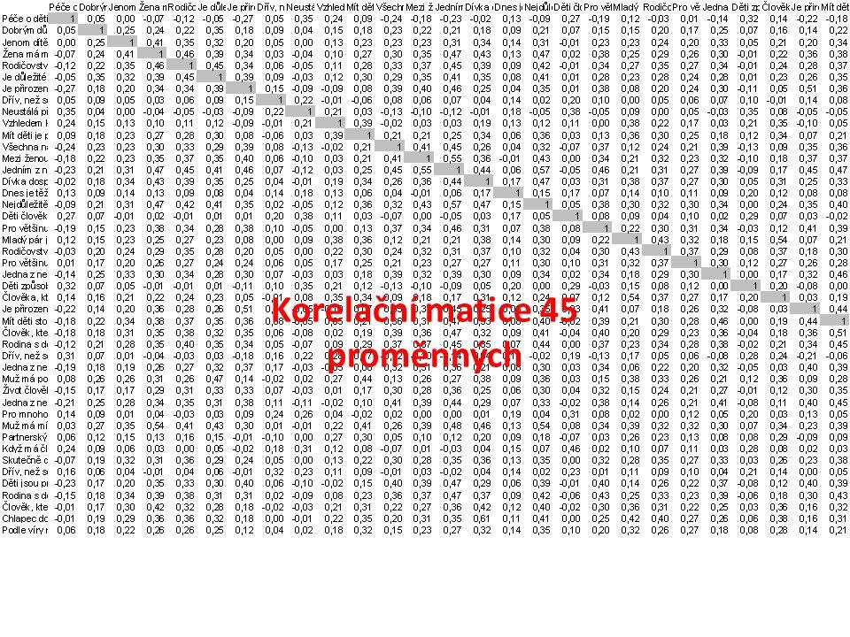 Korelační matice 45 proměnných