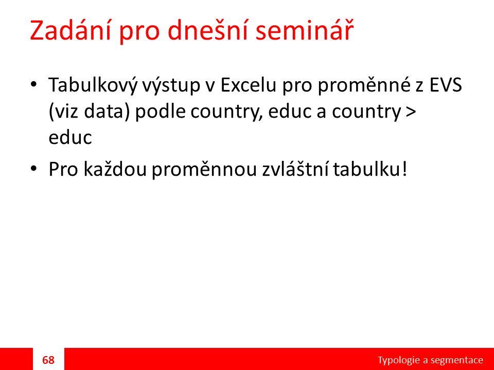 Zadání pro dnešní seminář Tabulkový výstup v Excelu pro proměnné z EVS (viz data) podle country, educ a country > educ Pro každou proměnnou zvláštní tabulku.
