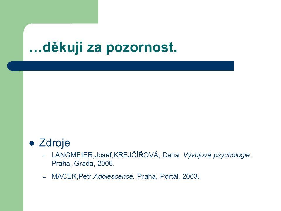 …děkuji za pozornost. Zdroje – LANGMEIER,Josef,KREJČÍŘOVÁ, Dana.