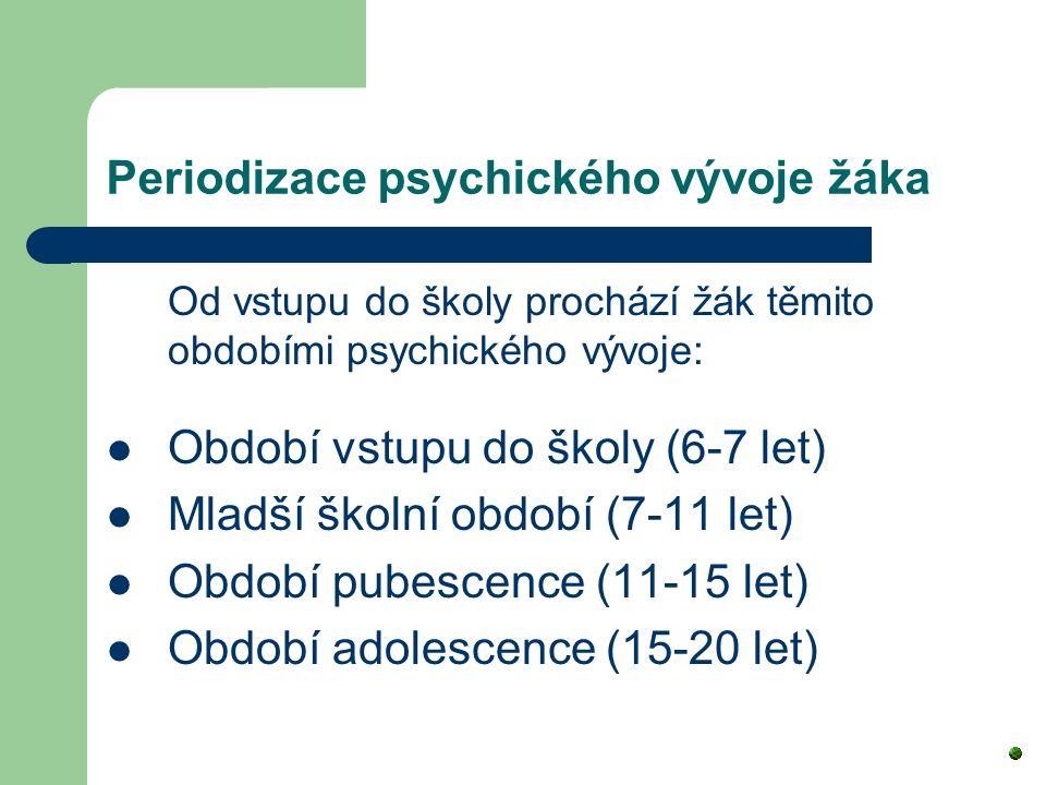 Periodizace psychického vývoje žáka Od vstupu do školy prochází žák těmito obdobími psychického vývoje: Období vstupu do školy (6-7 let) Mladší školní období (7-11 let) Období pubescence (11-15 let) Období adolescence (15-20 let)