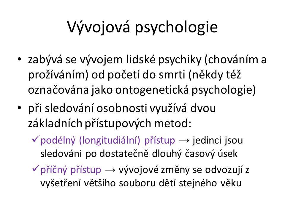 zabývá se vývojem lidské psychiky (chováním a prožíváním) od početí do smrti (někdy též označována jako ontogenetická psychologie) při sledování osobn