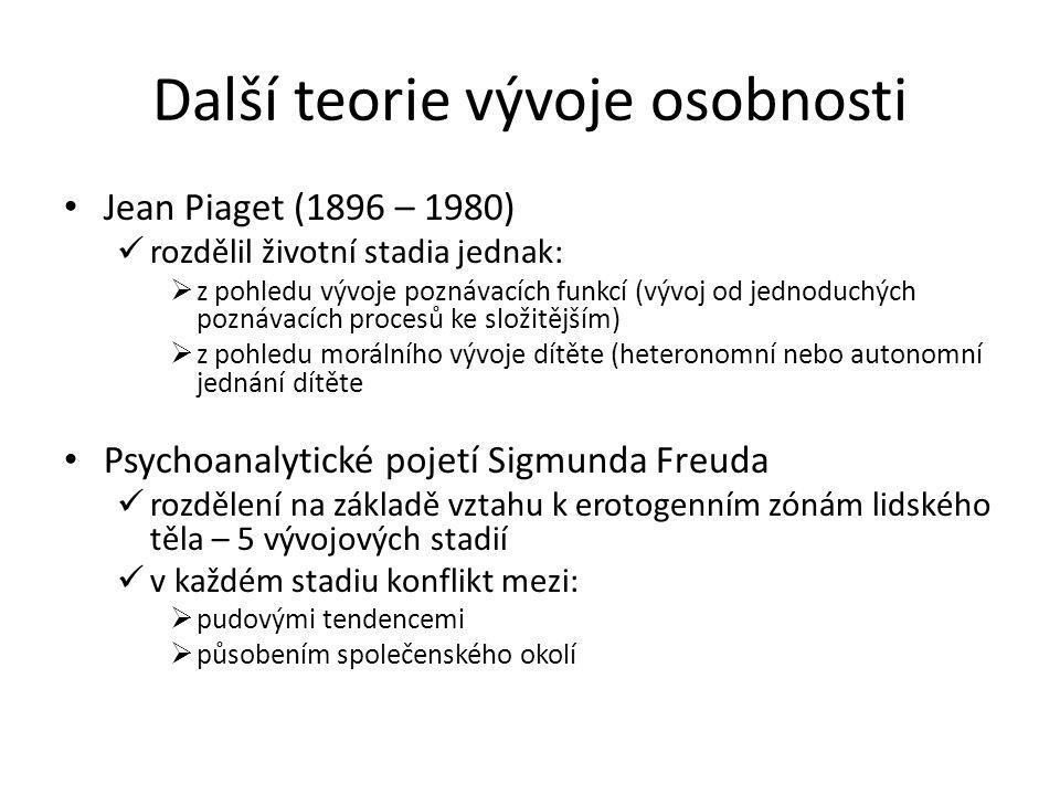 Další teorie vývoje osobnosti Jean Piaget (1896 – 1980) rozdělil životní stadia jednak:  z pohledu vývoje poznávacích funkcí (vývoj od jednoduchých p