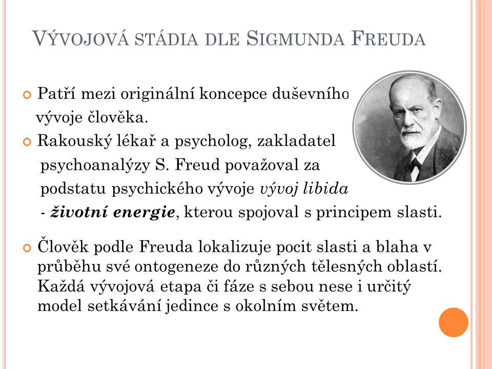 V ÝVOJOVÁ STÁDIA DLE S IGMUNDA F REUDA Patří mezi originální koncepce duševního vývoje člověka. Rakouský lékař a psycholog, zakladatel psychoanalýzy S