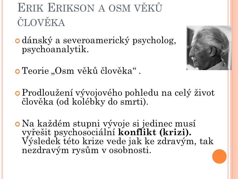 """E RIK E RIKSON A OSM VĚKŮ ČLOVĚKA dánský a severoamerický psycholog, psychoanalytik. Teorie """"Osm věků člověka"""". Prodloužení vývojového pohledu na celý"""